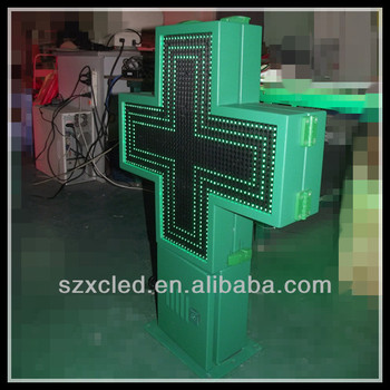 Double sides RF wireless communication P10-48X48cm 3D LED pharmacy cross display