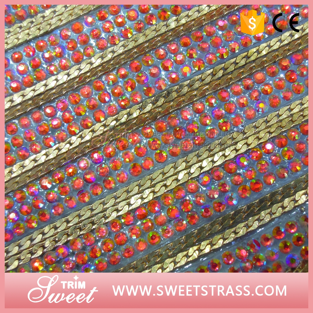wholesale rhinestone metal chain sheet hotfix trimming on sale for bags