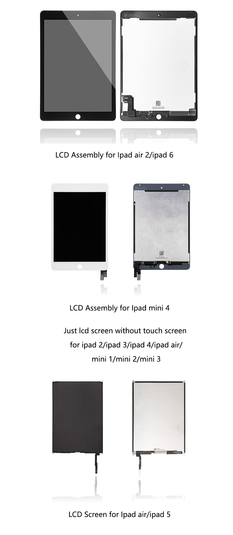 100%Original lcd with touch screen for ipad air 2,lcd assembly for ipad 6,lcd screen digitizer for ipad air 2 accept paypal