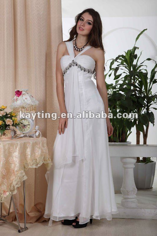 bridesmaid dress white evening gown formal evening dress 5234B