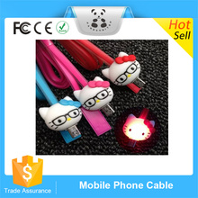 High Performance Newest Cartoon colorful LED light Data Cable Colored noodles Charger Sync Cable Data Line