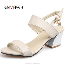 New model shoes fashion girls high heel shoes in 2016 fashionable PU upper ladies strap summer sandals