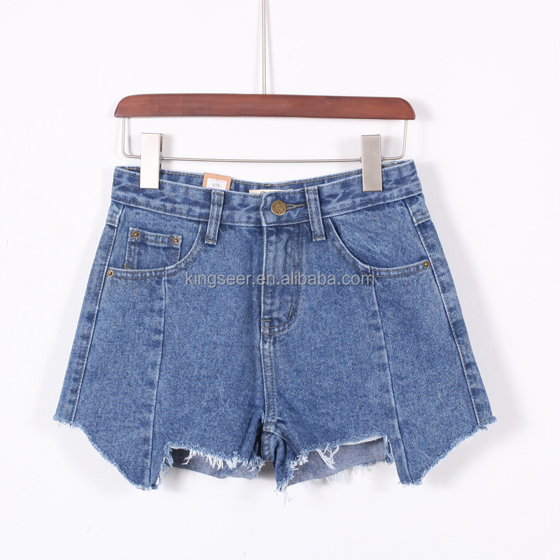 Asymmetry raw hem hot pants jeans short
