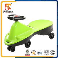 Pretty pure green color baby kids swing car child wiggle car for big baby toys