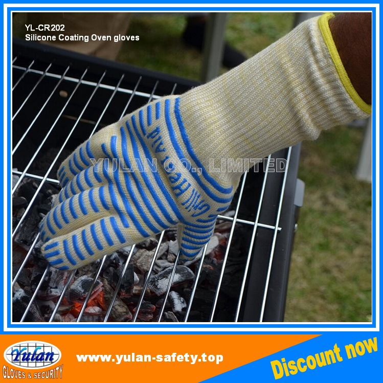 Highest Rated Heat Resistant Five Fingered Grilling Oven Silicone BBQ Gloves, en407
