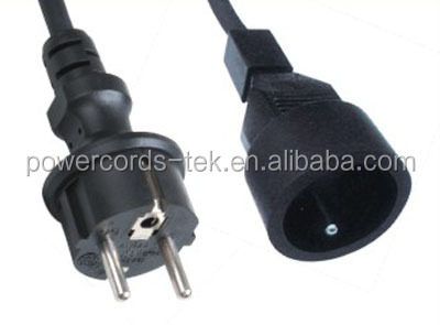 Europe extension power cord with VDE approval H03VV-F 3G0.5~0.75MM2