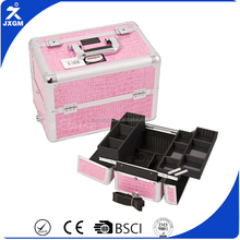 Factory Direct Wholesale Makeup case aluminium storage case sunrise brand Pink Croc Pro beauty case