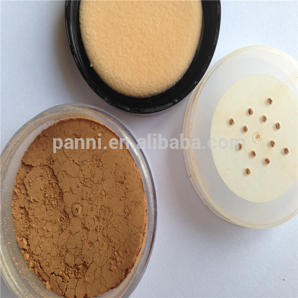 Natural face loose powder with round puff, facial makeup powder