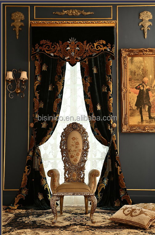 Italian Royal Embroidery Valance Curtain, Blackout Sheer Voile Curtain for Study Room