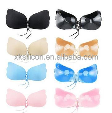 Black nude pink blue Women sexy Invisible Self Adhesive Strapless bra, sexy bra with rope