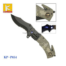 new design camouflage color survival knife with LED light