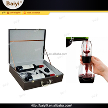 Luxury leather wine bag carrier with magic wine aerator decanter