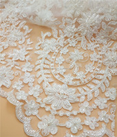 2017 Newest bridal ivory beaded voile lace for evening dress