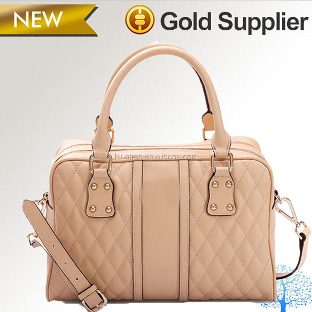 Cow skin lady handbag with two big size handle, crossbody bag with different color