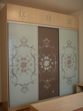 decorative sliding frosted tempered glass closet door