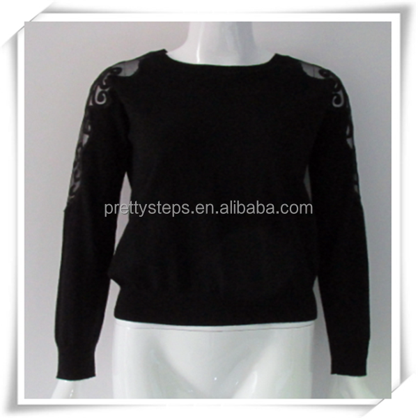 PRETTY STEPS 2015 casual wear for women short black wool cable turtleneck sweater with lace sleeve