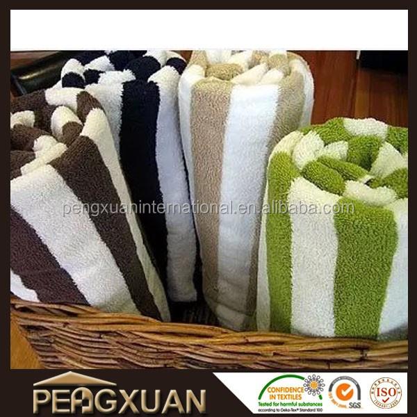 Wholesale China export europe 100% cotton luxury terry towel striped pool towel orange bath towel