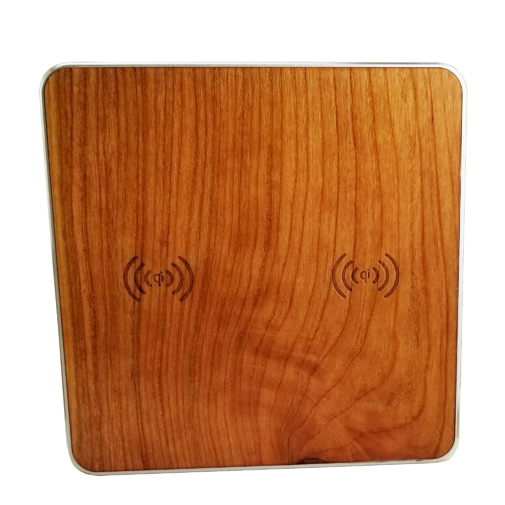 Dual Channels Wooden Qi Universal Wireless Charger Charging Pad