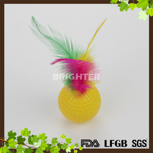 Colorful Feather plastic cat toy ball with bell inside