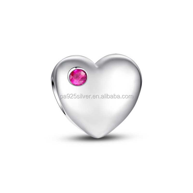 single stone heart shape charms plain silver vintage color Baroque style for lover