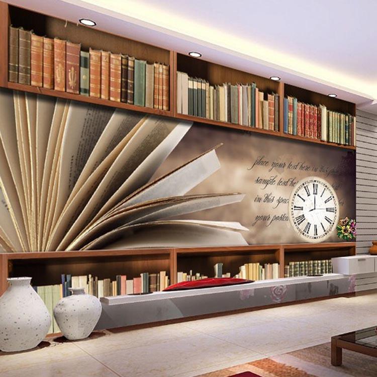 New style for interior decoration 3d effect bookshelf for for Bookshelf wallpaper mural