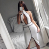 halter hollow chest white and black strip luxury party or celebration evening dress
