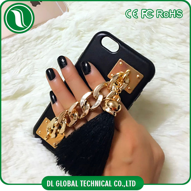 Korean accessories mobile for iphone 6 leather case with metal mobile phone chain soft tpu case