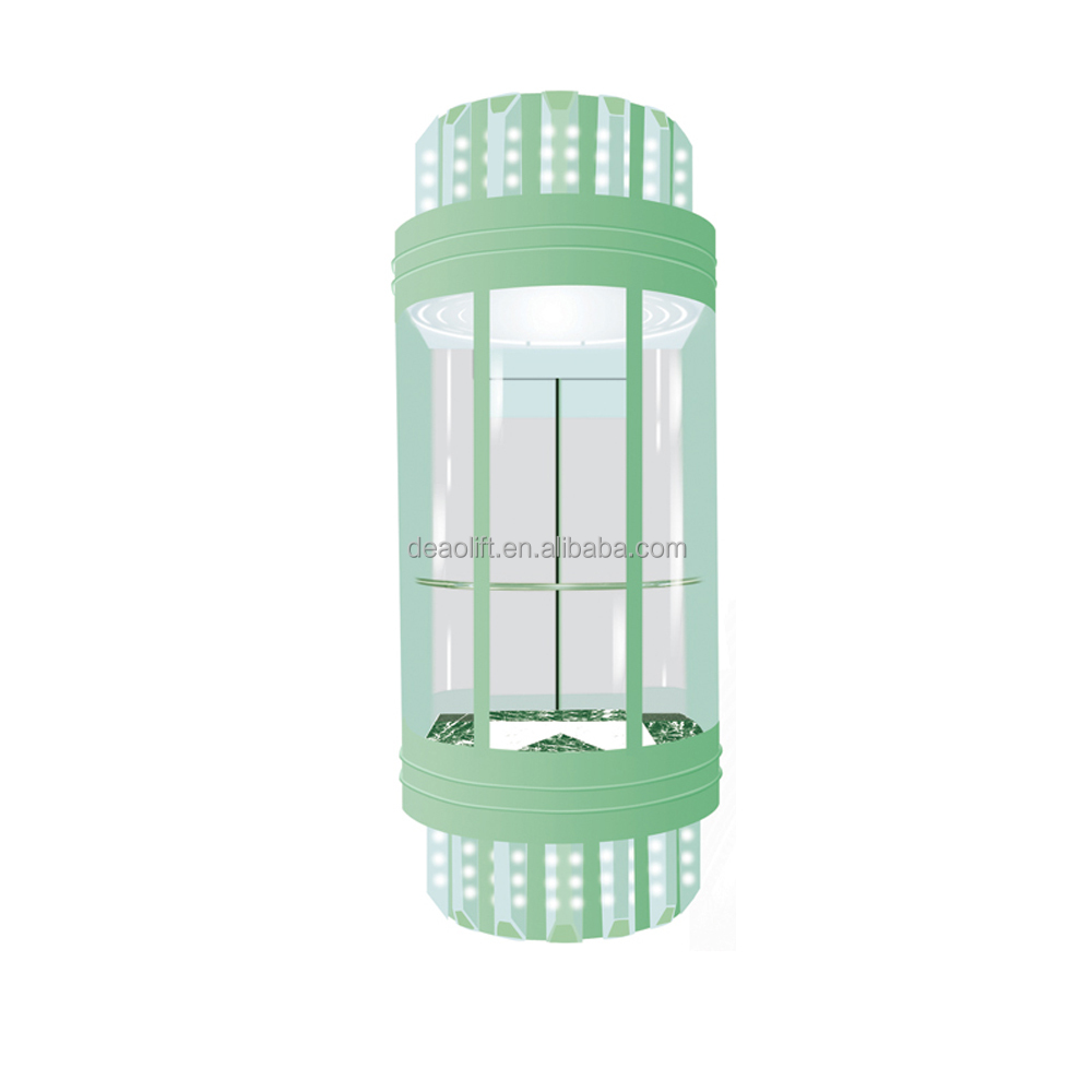 Small auto passenger home cabin decoration panoramic glass elevator