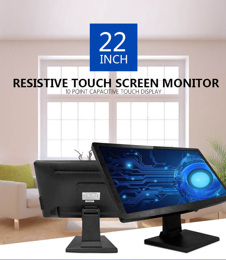2019 OEM hot sale 22 inch touch screen monitor resistive touch monitor POS all in one