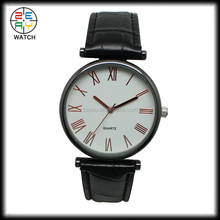 Chinese factory wholesale custom logo genuine leather band black classic watches, Japanese movement stainless steel back watch