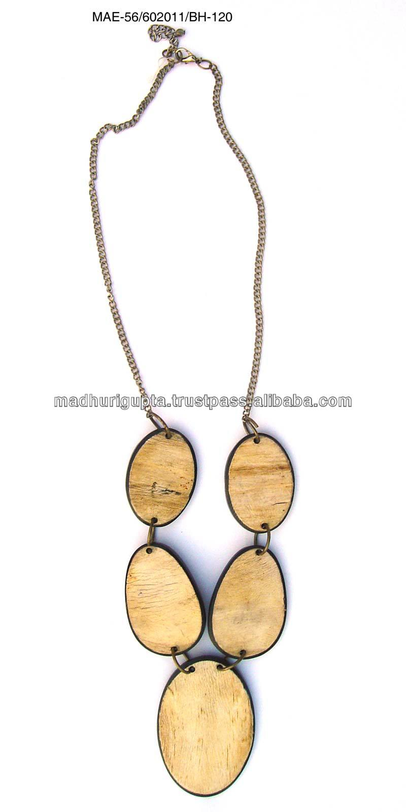 Ellipse Shape Wooden Beads Necklace in Brown & Black Colour