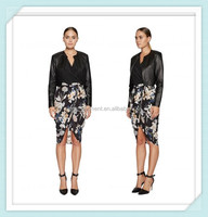Lady's silk crepe de chin digital printed fashion skirt