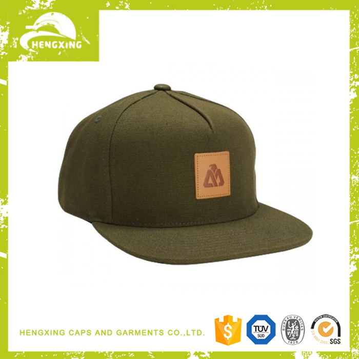 Brown Leather Patch Army Green 5 Panel Snapback Hat Canvas Snapback Hat