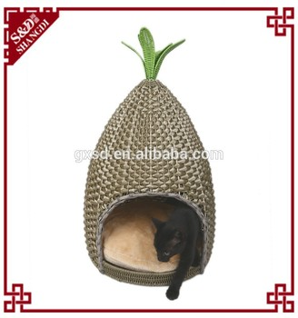S&D Hot style Pet Products wrought iron plastic rattan handmade cat bed