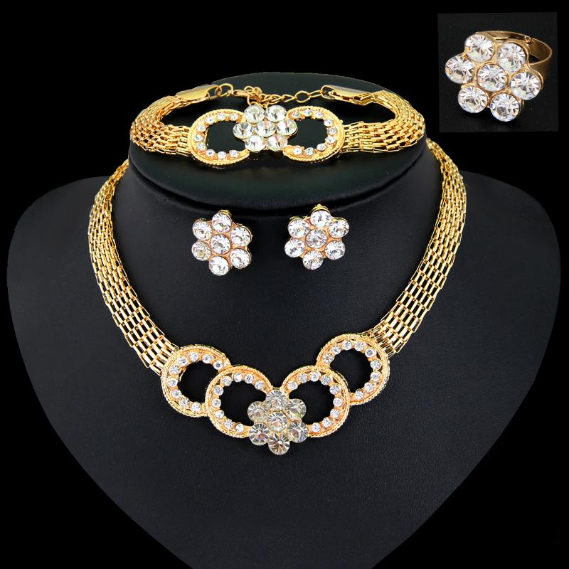 Free Shipping Party Gold Plated African Beads 4-Piece Jewelry Sets Crystal Cross Necklace Bangle Earrings Ring Accessories