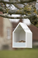 House shaped white color wooden bird house for sale