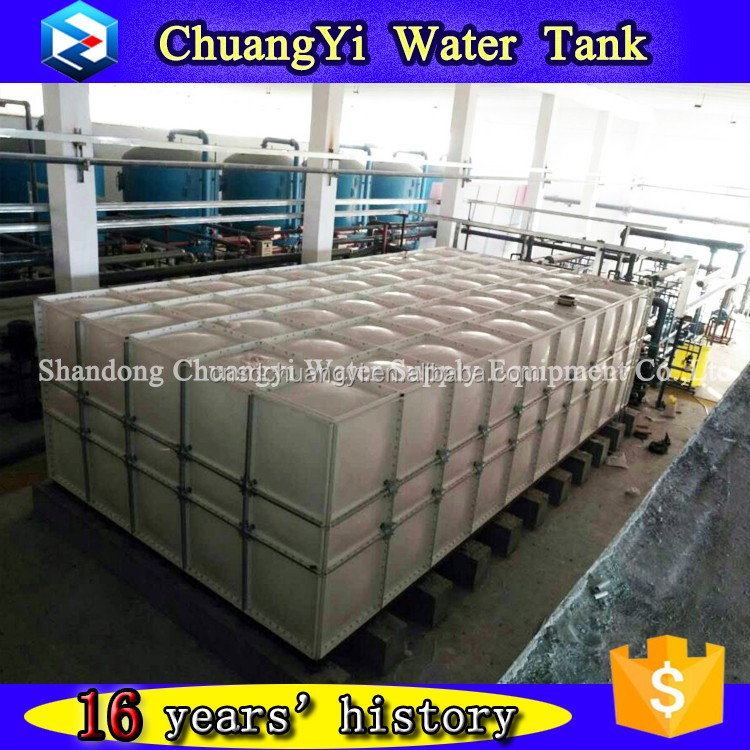 7m steel structure support GRP overhead water tank/SMC overhead sectional water tank with low price