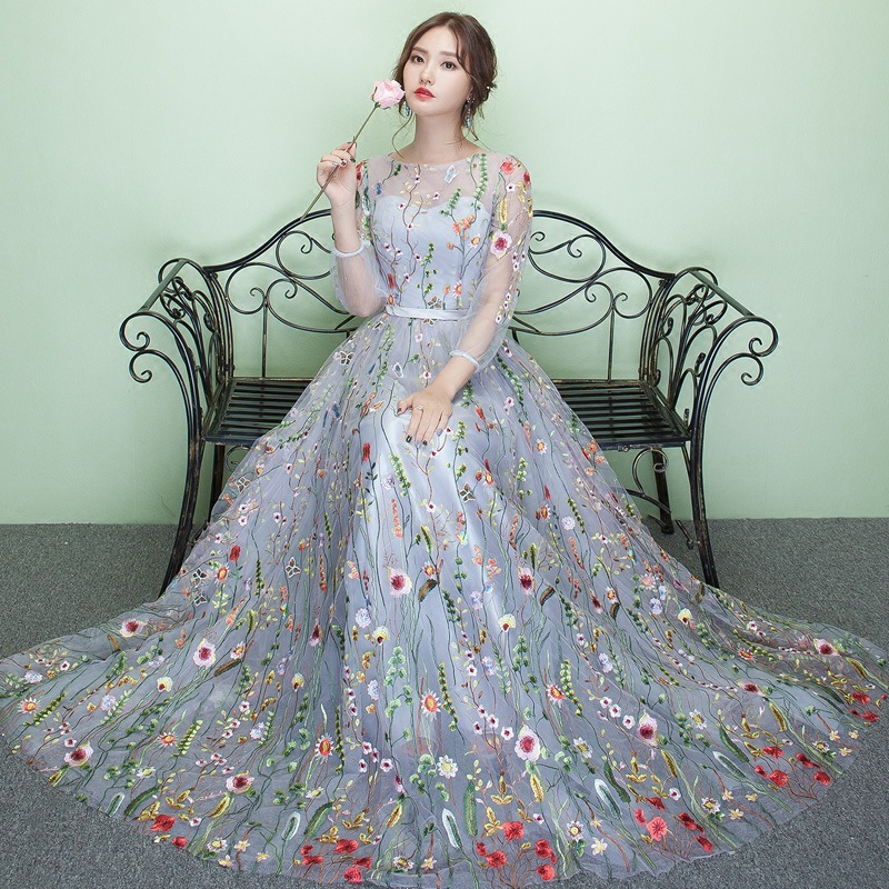 ZHF282 2018 New Elegant flower chiffon long sleeves long evening party dress