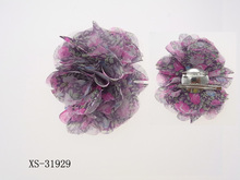 fashion chiffon flower hair clips for girls in hair extension