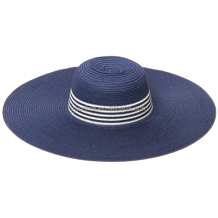 Ladies fashion wide brim paper straw sun beach floppy hats