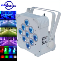 Professional guangzhou dj lights led flat par 9x6W RGBAW-UV 6in1 dmx wireless battery powerd led uplights