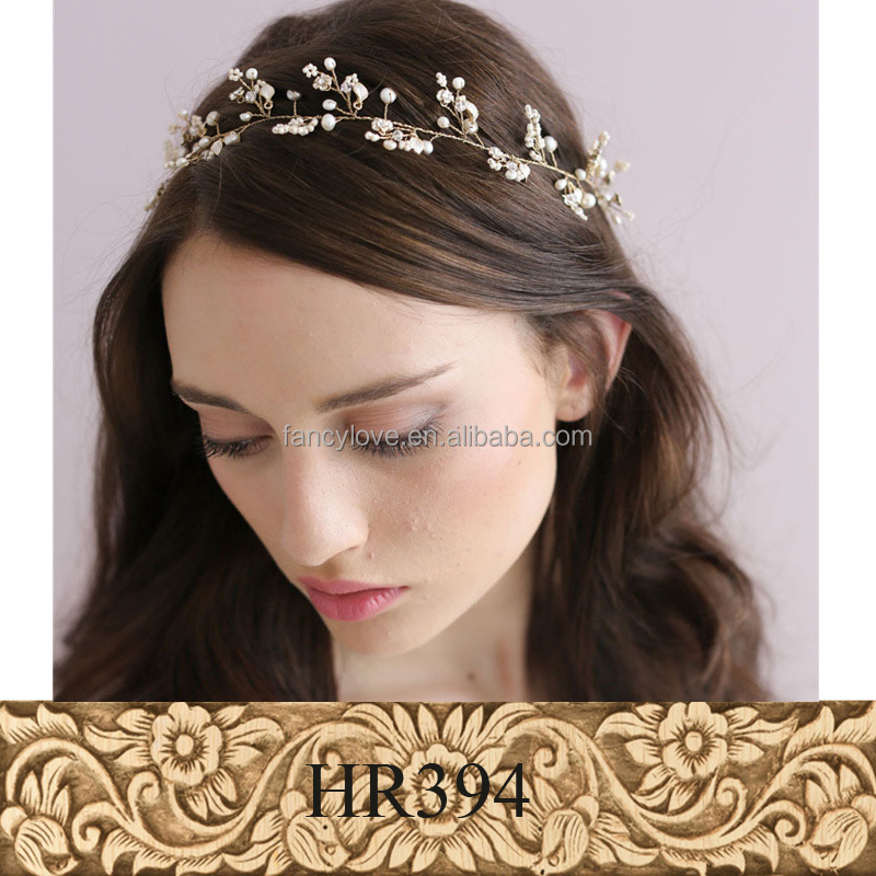 Sweet design handmade pearl headdress flower bridal <strong>hair</strong> <strong>accessories</strong> for wedding ceremony