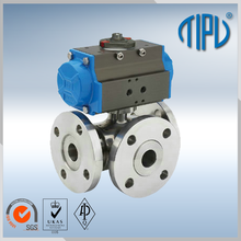 Electric Actuator Stainless Steel Three Way Ball Valve