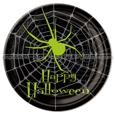 Halloween Party Supplies Green Black Happy Halloween Spider Tableware Large 23cm 9inch Disposable Party Paper Plate Green Spider