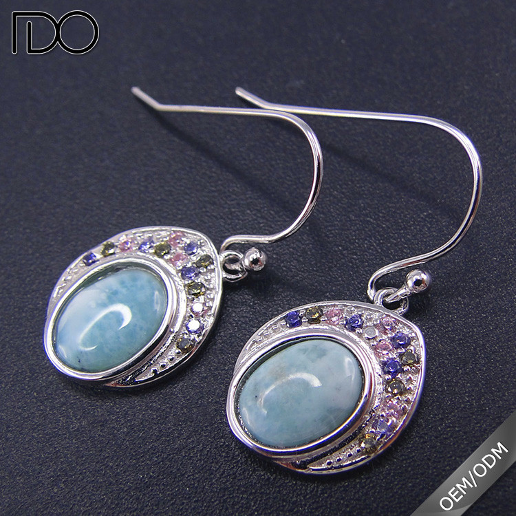 Competitive price larimar women earing manufacturer in china