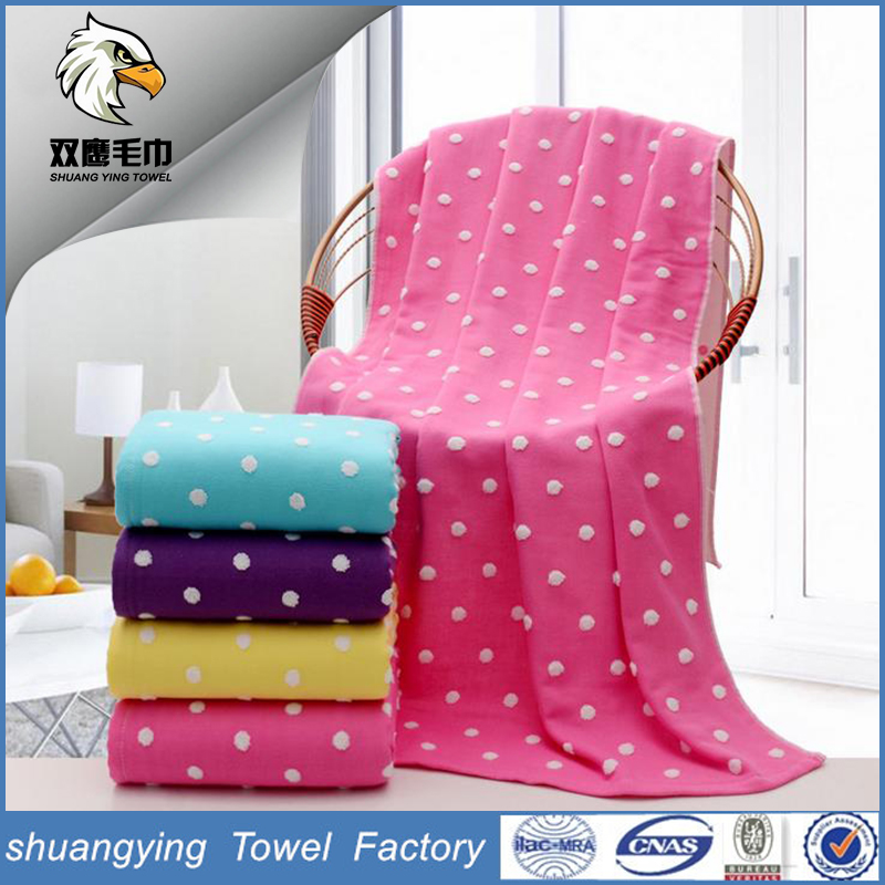 Solid color gauze Polka Dot Succinct cotton bath towels