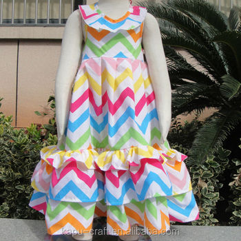Fashion cotton rainbow chevron ruffle dress latest long dresses designs for kids