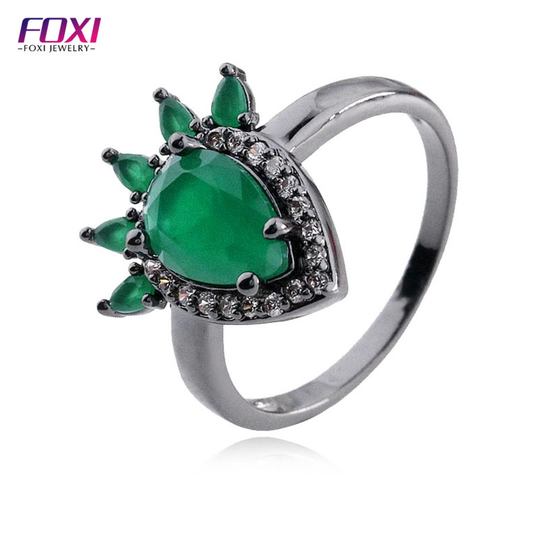 guangxi foxi jewelry sterling silver blanks zirconia ring party wearing
