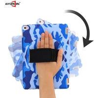 High quality PC hard case 360 degree Hand Rotation Rubber Hard handheld case Ocean camouflage case For iPad Air2