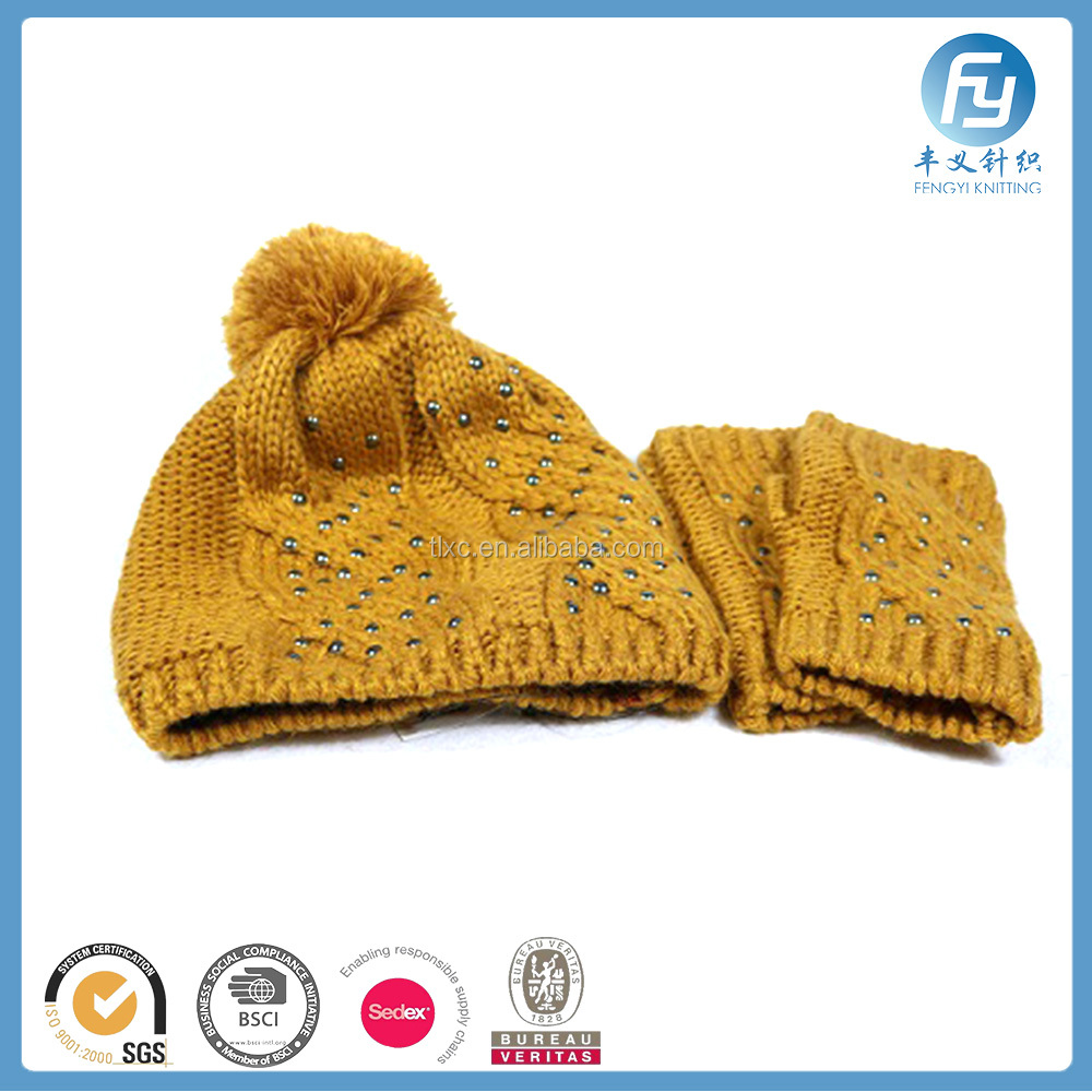 2017 top selling rivets knitted lady hat and mitten set